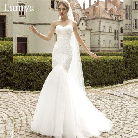 Real Photo White Mermaid Wedding Dress Top Sale Simple