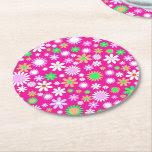 Pink Flower Power Round Paper Coaster