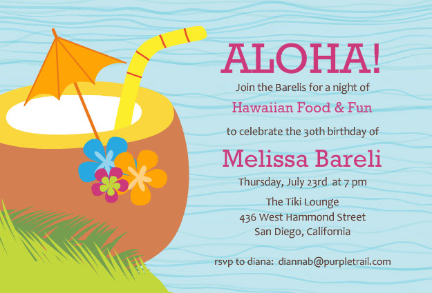 Hawaiian Party Invitations Free - Wedding Invitation Sample