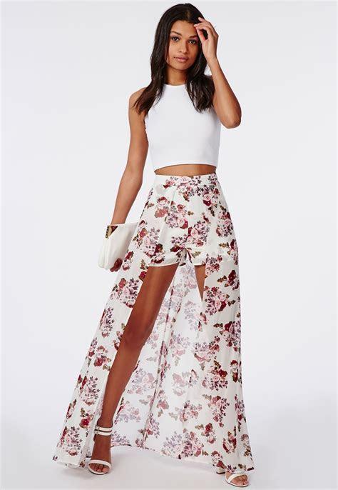 Chiffon Skirt In Floral   Dresscab