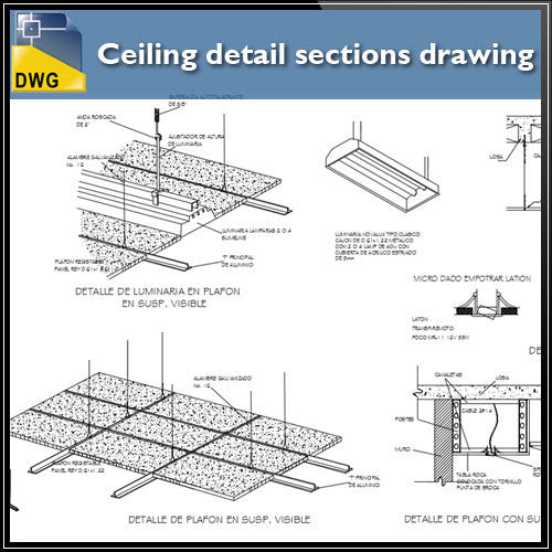 Free Ceiling detail sections drawing CAD Design Free