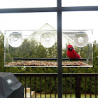 Evelots Window Bird Feeder-Clear-12 inch-3 Extra Strong Suction Cups-Drain Holes