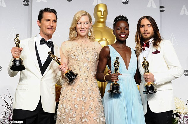 Speaking out: Lupita Nyong'o criticized the Academy of Motion Picture Arts and Sciences for their lack of diversity in this year's Oscar nominees (above with fellow Oscar winners Matthew McConaughey, Cate Blanchett and Jared Leto in 2014)