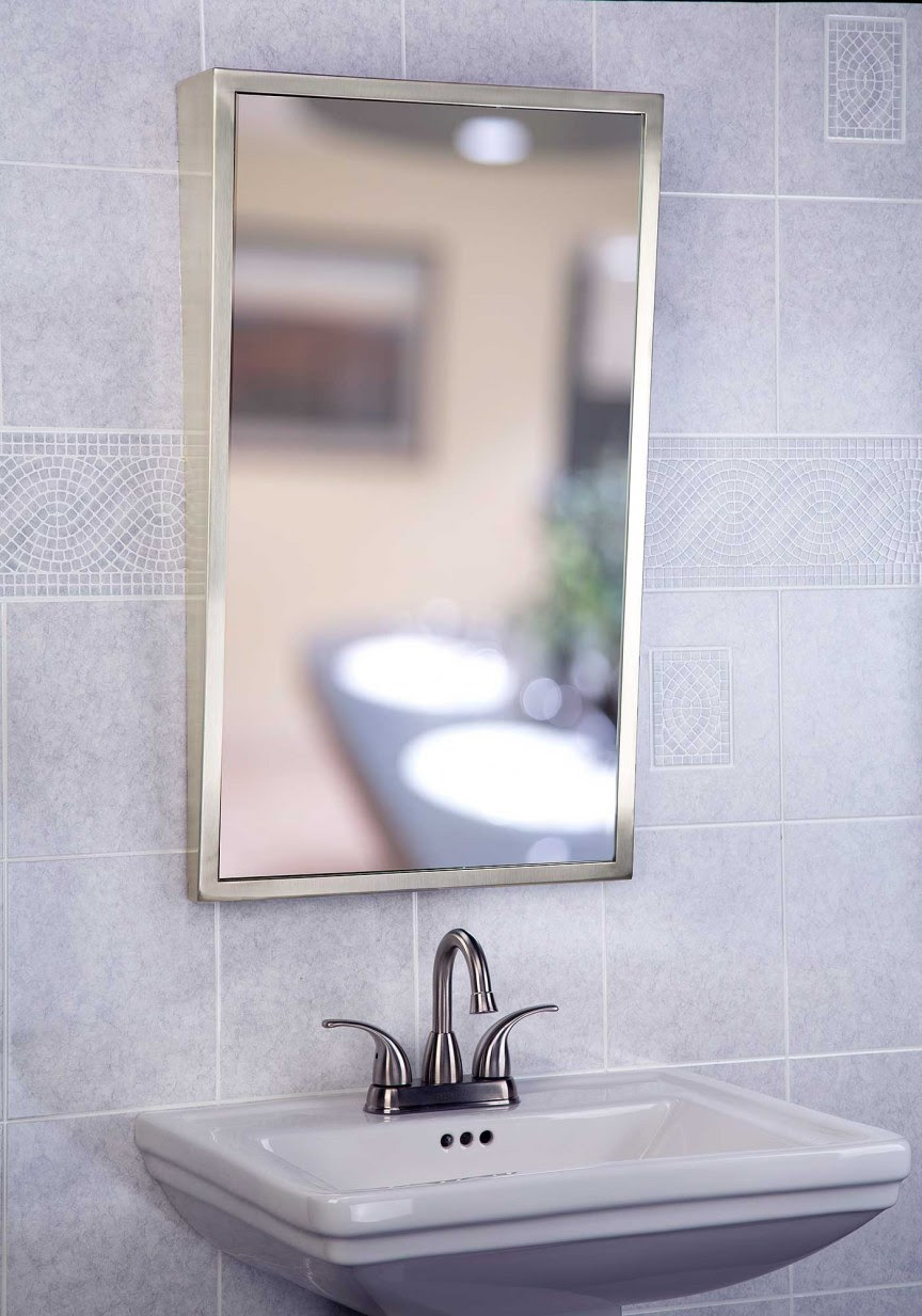 Only 15894 18 Inch X 30 Inch Fixed Tilt Frame Mirror Bright