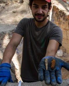 Un trabajador muestra las balas encontradas en la trinchera de Ciudad Universitaria.- ÓSCAR RODRÍGUEZ