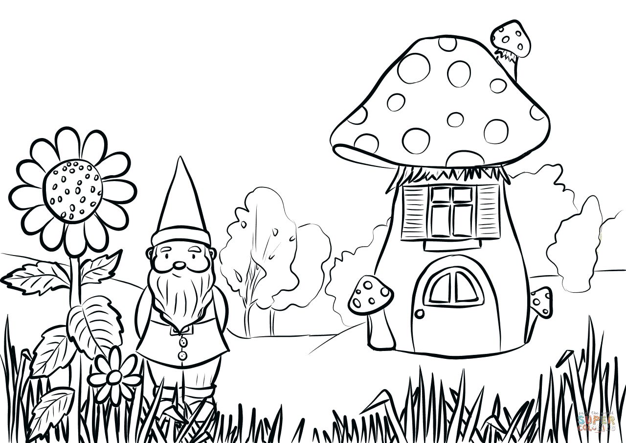 Gnome in the Garden coloring page | Free Printable ...