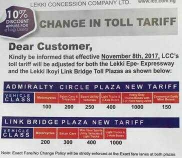 Lekki Concession Increases Toll Gate Fare. See New Tariff (Pictured)