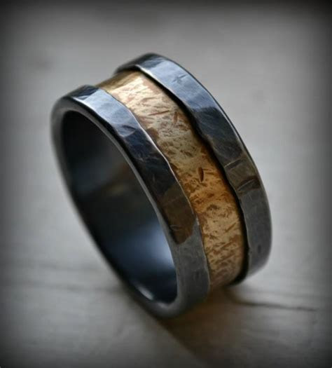 Mens Wedding Band, Rustic Fine Silver And Brass Ring