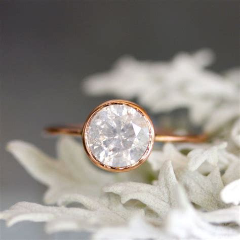 White Gray Diamond in 14K Rose Gold Engagement Ring Ready