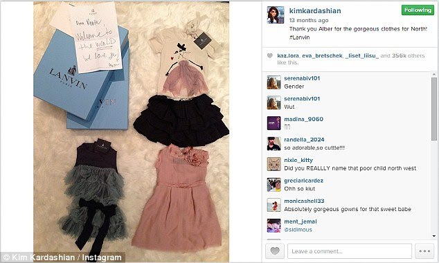 Proud momma: Kim regularly posts snaps of the luxury items given to North by her famous friends