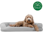 FurHaven Pet Dog Bed   Cooling Gel Memory Foam Orthopedic Quilted Sofa-Style Couch Pet Bed For Dogs & Cats (Silver Gray, Large)