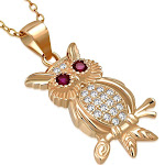 Ruby Owl Pendant