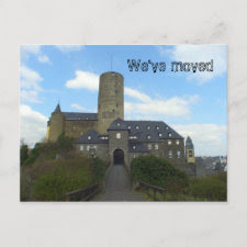 We've moved castle cards postcard