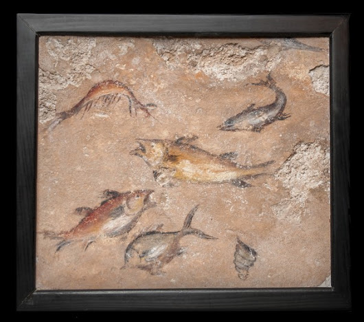 FEATURED ITEM: Roman Pompeian Wall Fresco with Aquarium-like Swimming Fish
