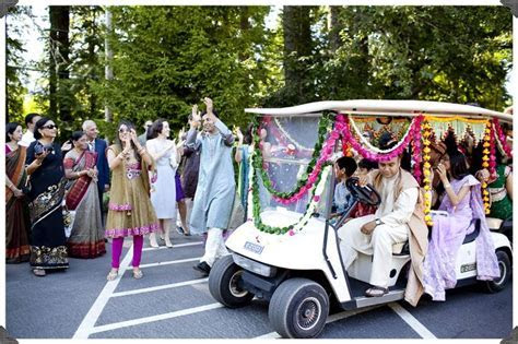 Baraat Indian Wedding Procession on a decorated golf cart