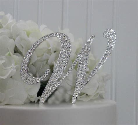 "4"" Monogram Wedding Cake Topper Decorated With Swarovski"