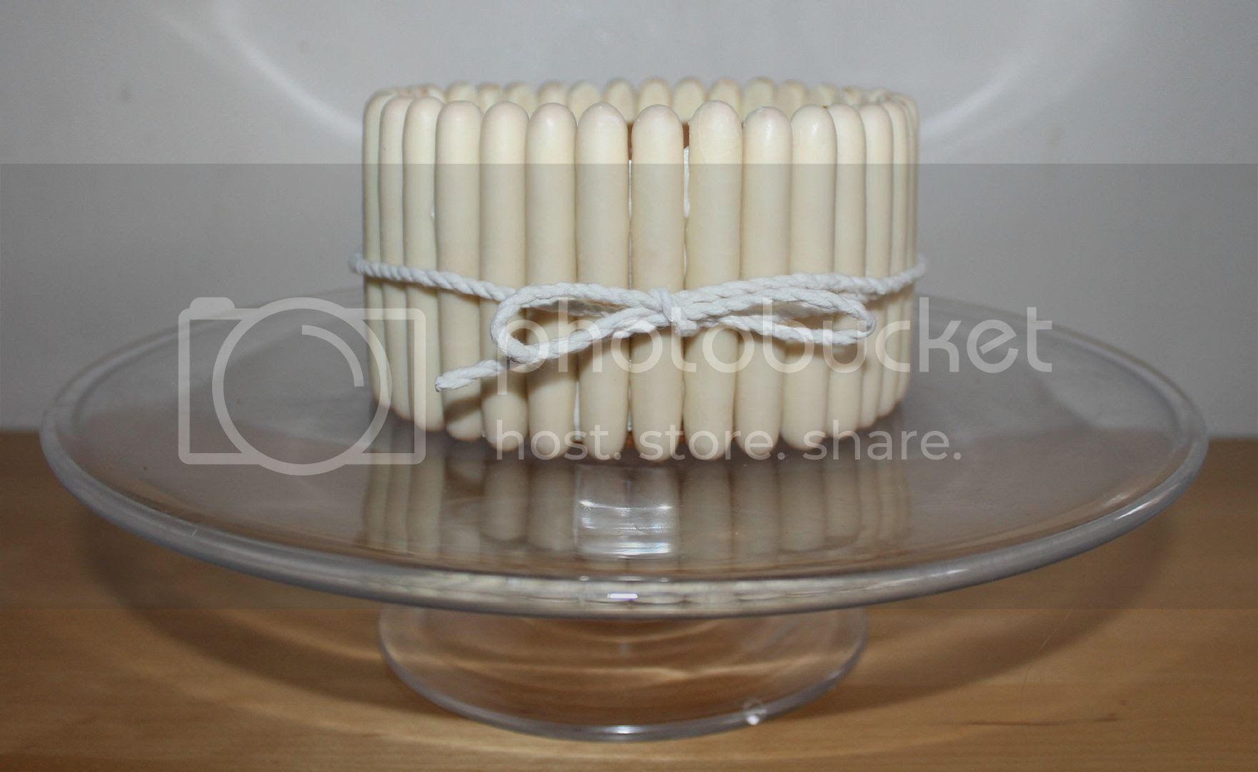 white chocolate fingers on cake