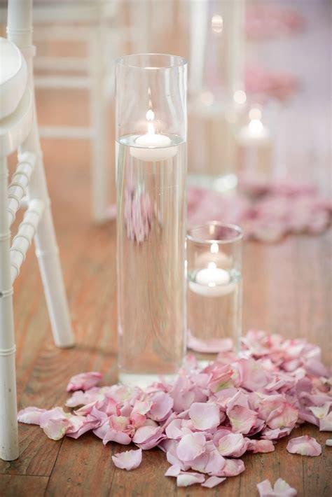 Blush Rose Petal, Floating Candle Wedding Ceremony Aisle