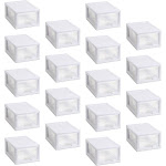 Sterilite 20518006 Stackable Small Drawer White Frame & See-Through (18 Pack) by VM Express