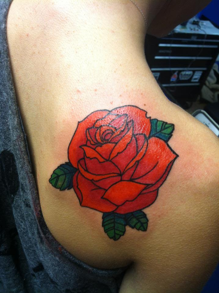 Traditional Skull And Rose Tattoo On Side Leg