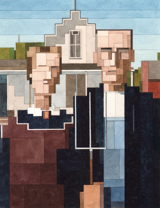 Classic art goes 8-bit in New York in Adam Lister's watercolour paintings