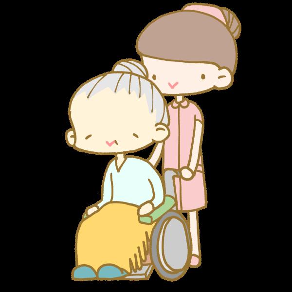 車いすを押す女性看護師のイラスト かわいいフリー素材が無料の