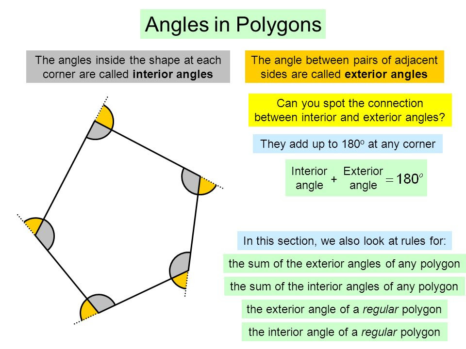 Angles+in+Polygons+The+angles+inside+the+shape+at+each+corner+are+called+interior+angles