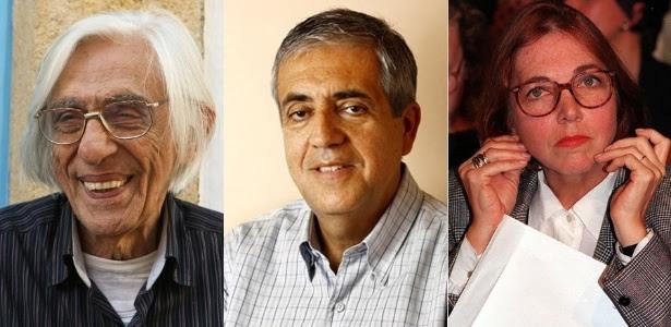 Ferreira Gullar, José Castello e Marina Colasanti, que concorrem ao prêmio de melhor ficção de 2011 do Prêmio Jabuti, ao lado de André Neves e Dalton Trevisan