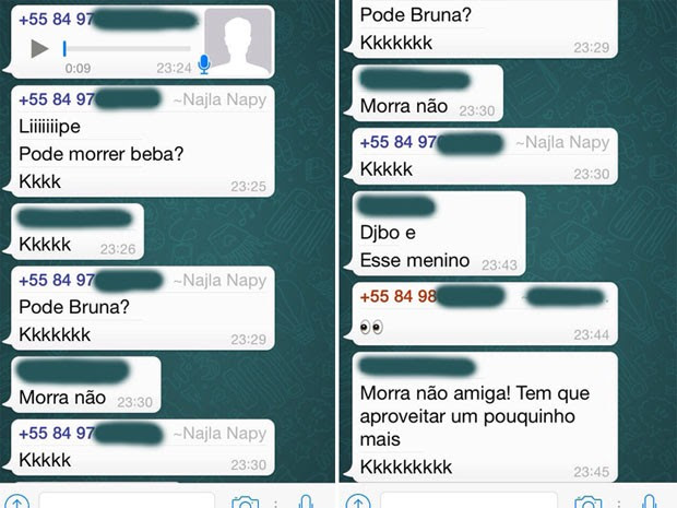 Jovem teria perguntado se podia 'morrer beba' em conversa de WhatsApp (Foto: Reprodução)