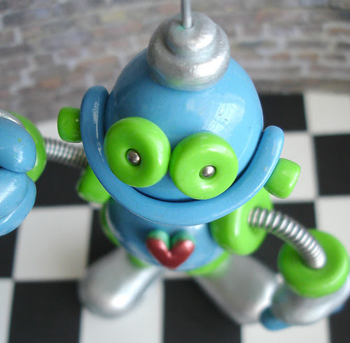 Blue Green Silver Gene Robot Sculpture Photo Sign Holder by HerArtSheLoves