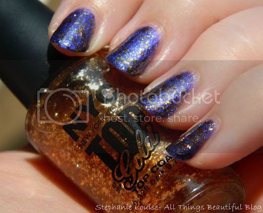 Stephanie Louise- All Things Beautiful: NYC Nail Polish in Top of the Gold Top Coat Swatches & Review