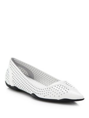 Prada Perforated Leather Point-Toe Flats