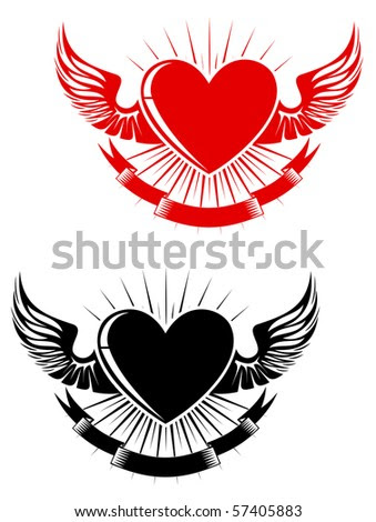 stock photo : Retro heart with wings for tattoo design.