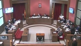 Imatge de la sala del Palau de Justícia on se celebra el judici del 9-N