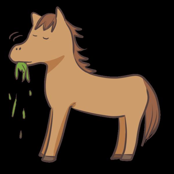 草を食べるウマのイラスト かわいいフリー素材が無料のイラストレイン