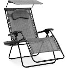 BCP Oversized Zero Gravity Reclining Patio Chairs with Canopy Shade & Cup Holder