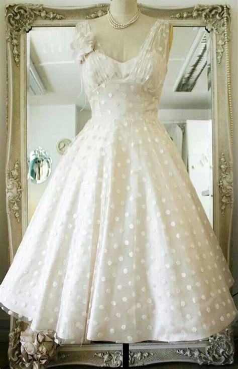 Vintage inspired polka dot tea length wedding dress