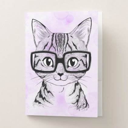 Hand Drawn Nerdy Cat Art Folder Set of 5
