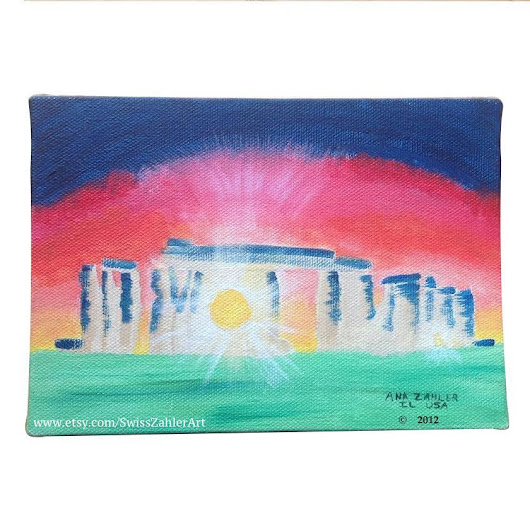 Summer Solstice At Stonehenge - acrylic painting