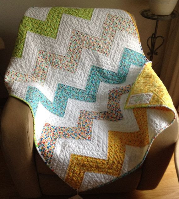 Modern Chevron Quilt Ziggy dot Zag Polka Dot Quilt by FabriArts, $150.00