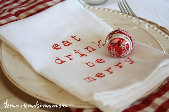 "Festive ""eat drink be merry"" cloth napkins, set of four"