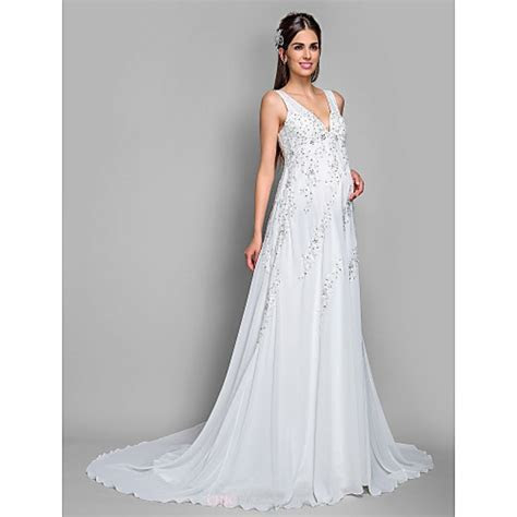 A line Maternity Wedding Dress   Ivory Court Train V neck