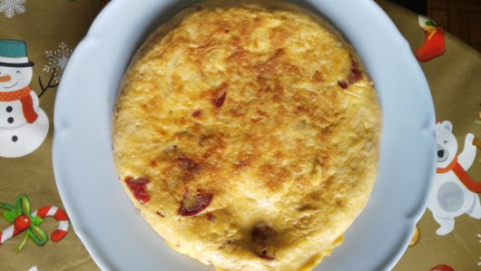 Potatoes omelette with sausage