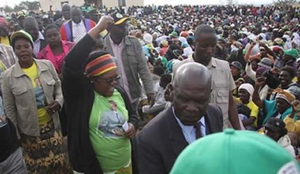Republic of Zimbabwe Vice-President Joice Mujuru at Domboshava rally on July 22, 2013. She is campaigning for ZANU-PF. by Pan-African News Wire File Photos