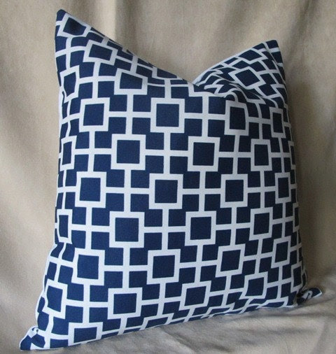 Pair of 2 Designer Pillow Cover 18 x 18 - Cradle Navy - Indoor/Outdoor