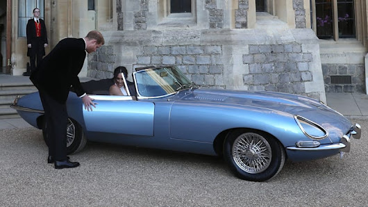 Fully electric Jaguar E-Type transports Prince Henry and Meghan Markle - Autoblog
