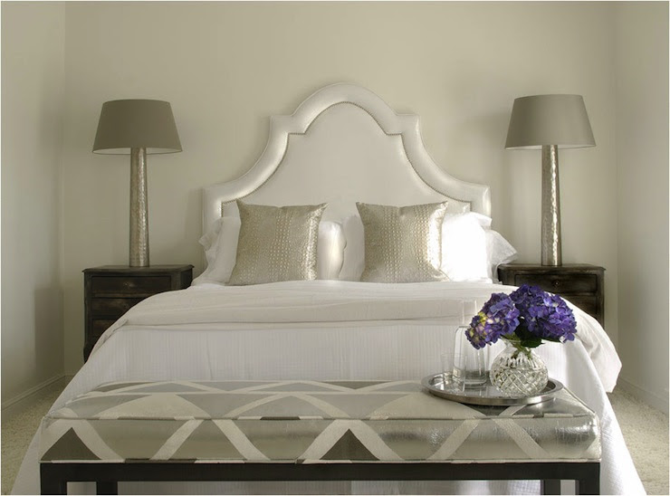 bedrooms - silver headboard silver pillows rustic nightstands silver lamps gray tapered lamp shades silver charcoal gray metallic bench  Caldwell