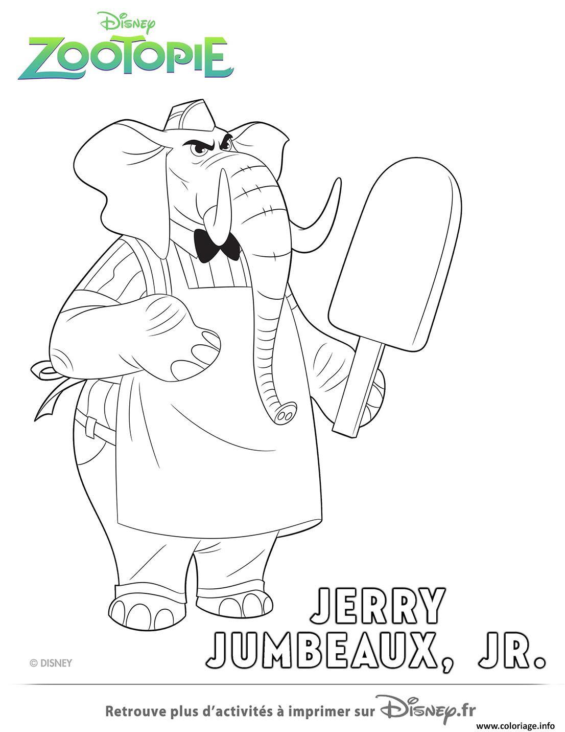 Coloriage Jerry Le Vendeur De Glace De Zootopie Dessin  Imprimer