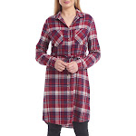 Jachs Ladies' Girlfriend Flannel Shirt Dress, Red, Small