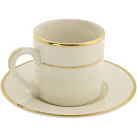 10 Strawberry Street CGLD0428 3 oz. Cream Double Gold Line Can Demitasse Cup and Saucer